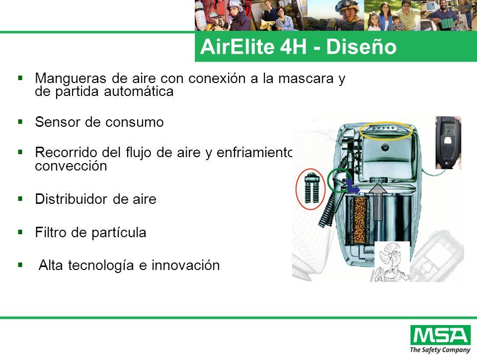 AirElite 4H - Diseño Mangueras de aire con conexión a la mascara y de partida automática. Sensor de consumo.