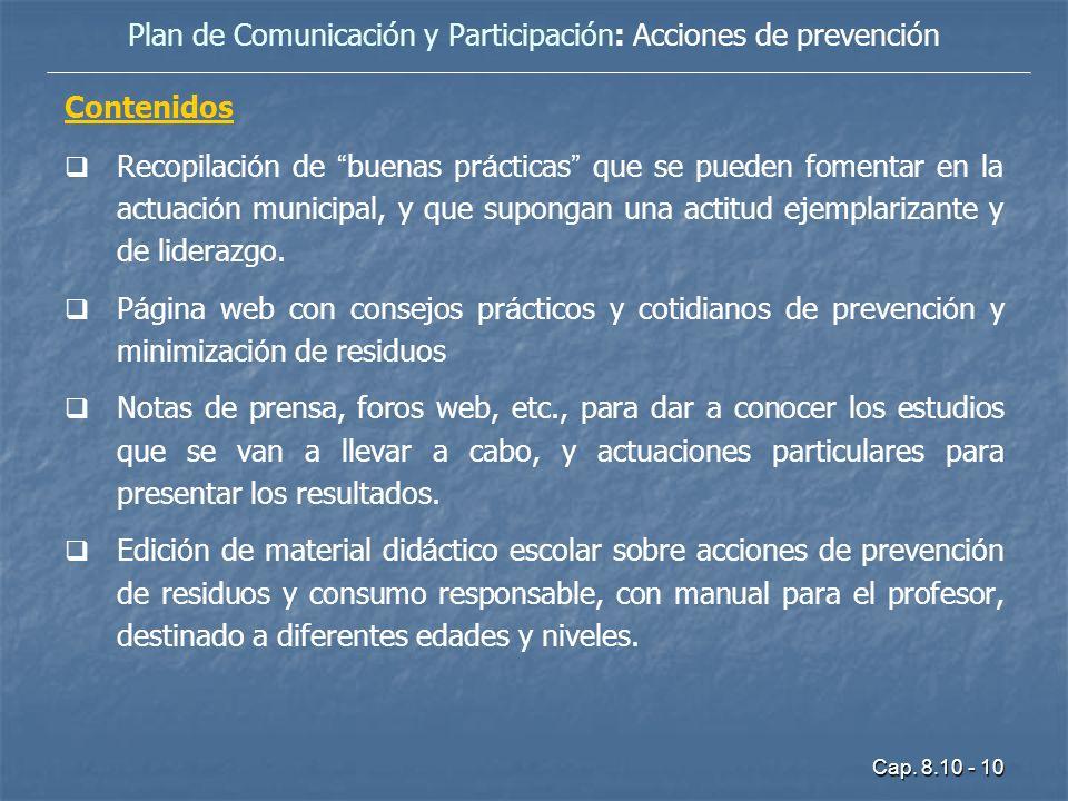 Plan de Comunicación y Participación: Acciones de prevención
