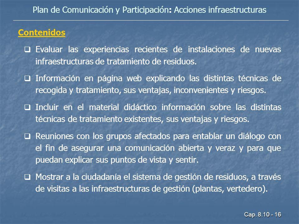 Plan de Comunicación y Participación: Acciones infraestructuras