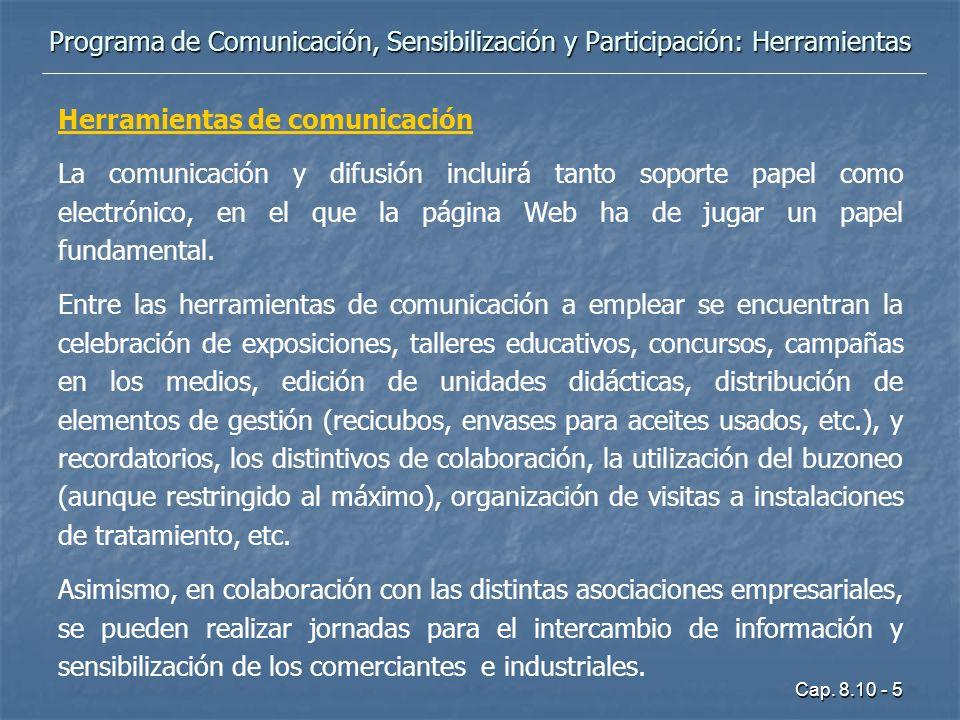 Programa de Comunicación, Sensibilización y Participación: Herramientas