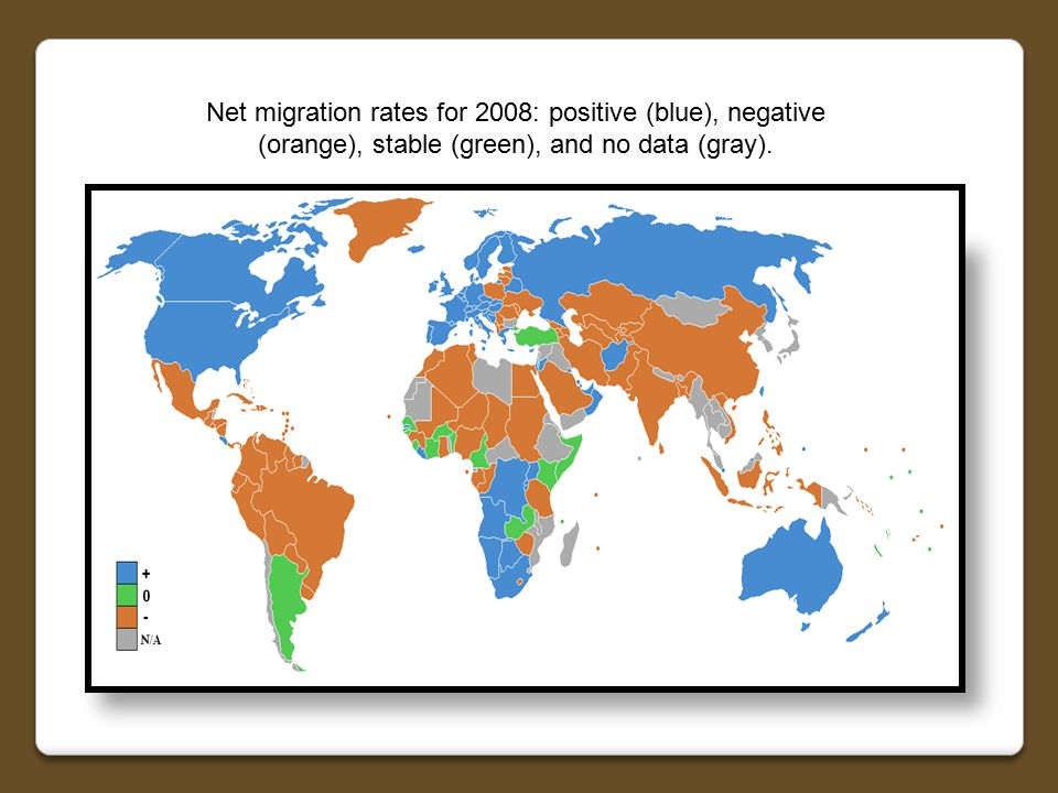 Net migration rates for 2008: positive (blue), negative (orange), stable (green), and no data (gray).