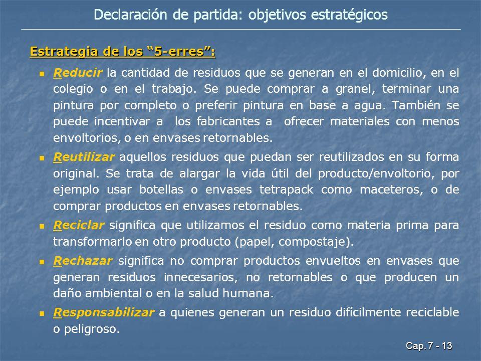 Declaración de partida: objetivos estratégicos