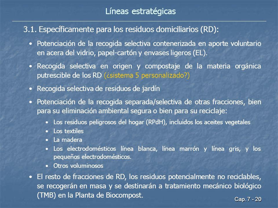 Líneas estratégicas 3.1. Específicamente para los residuos domiciliarios (RD):