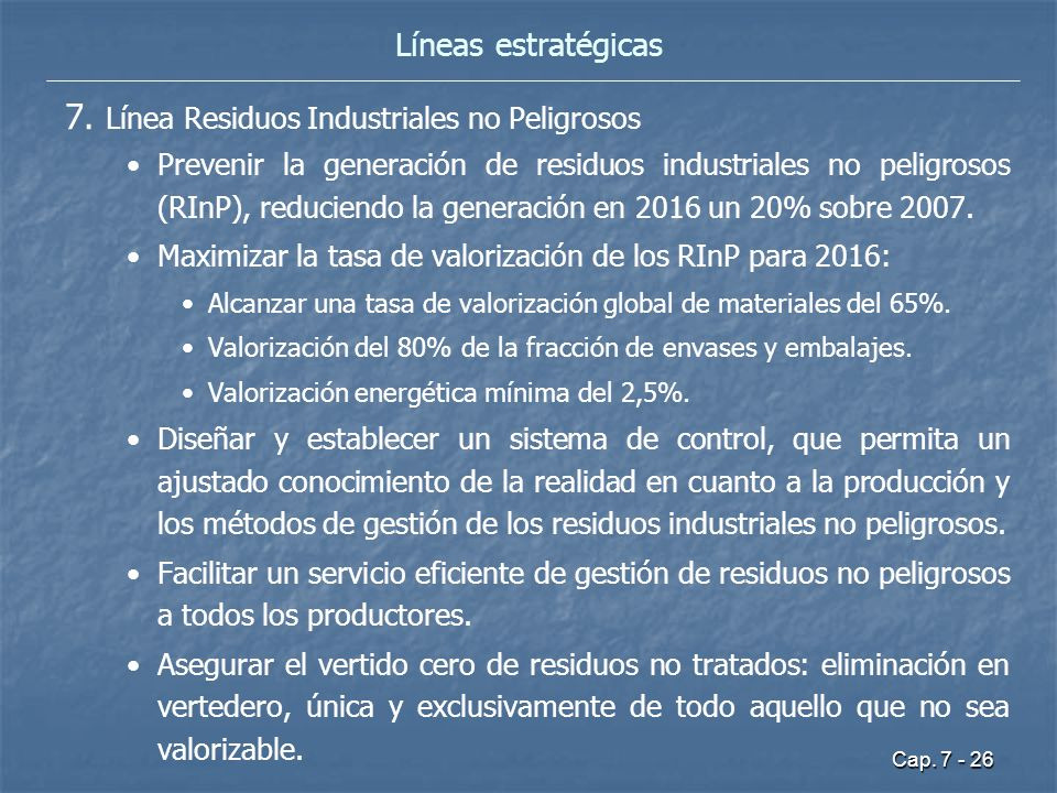 7. Línea Residuos Industriales no Peligrosos