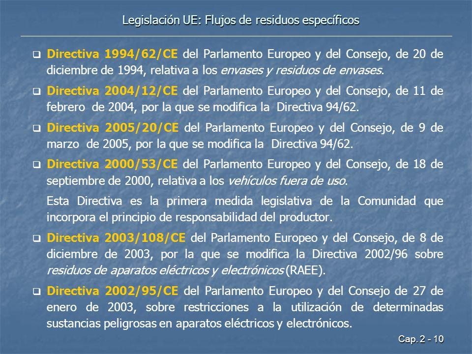 Legislación UE: Flujos de residuos específicos