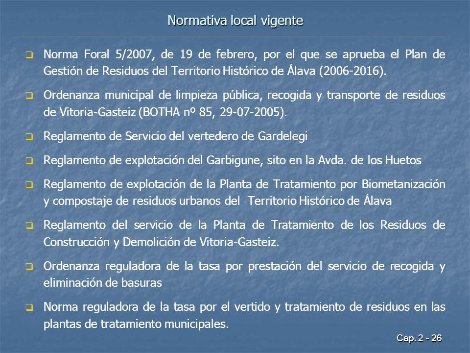 Normativa local vigente