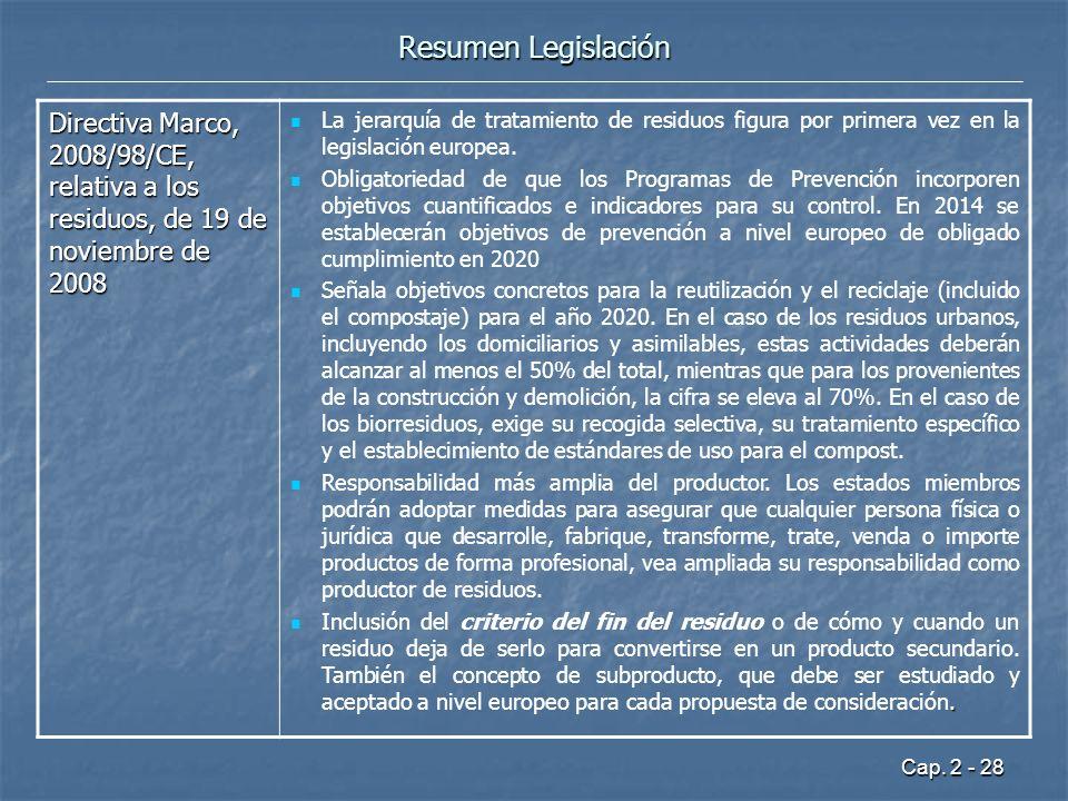 Resumen Legislación Directiva Marco, 2008/98/CE, relativa a los residuos, de 19 de noviembre de 2008.