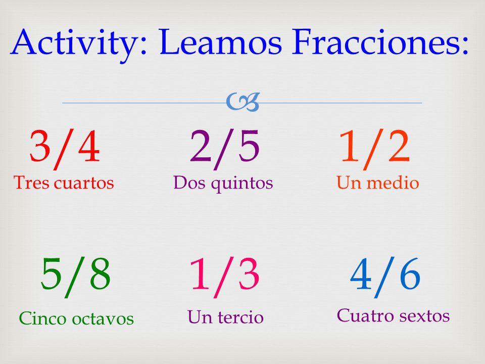 Activity: Leamos Fracciones: