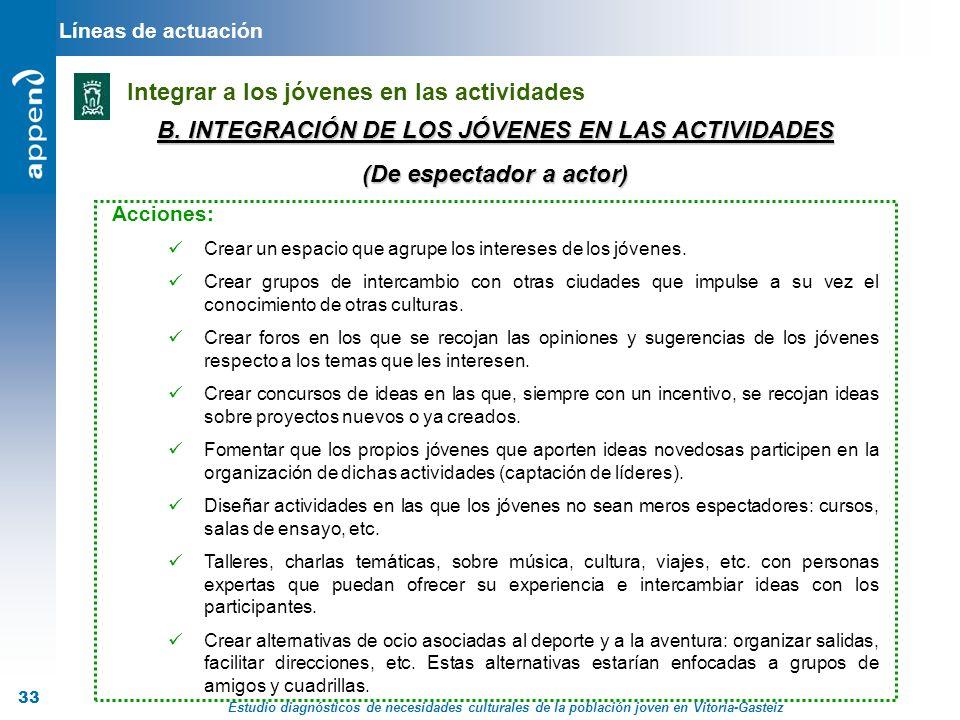 B. INTEGRACIÓN DE LOS JÓVENES EN LAS ACTIVIDADES