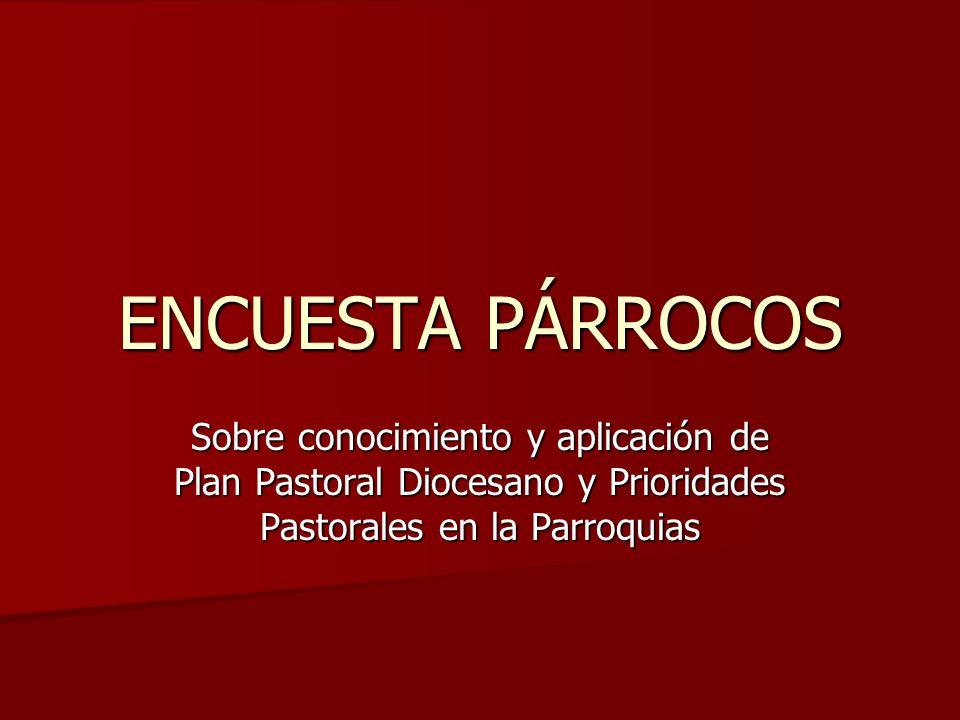 ENCUESTA PÁRROCOSSobre conocimiento y aplicación de Plan Pastoral Diocesano y Prioridades Pastorales en la Parroquias.