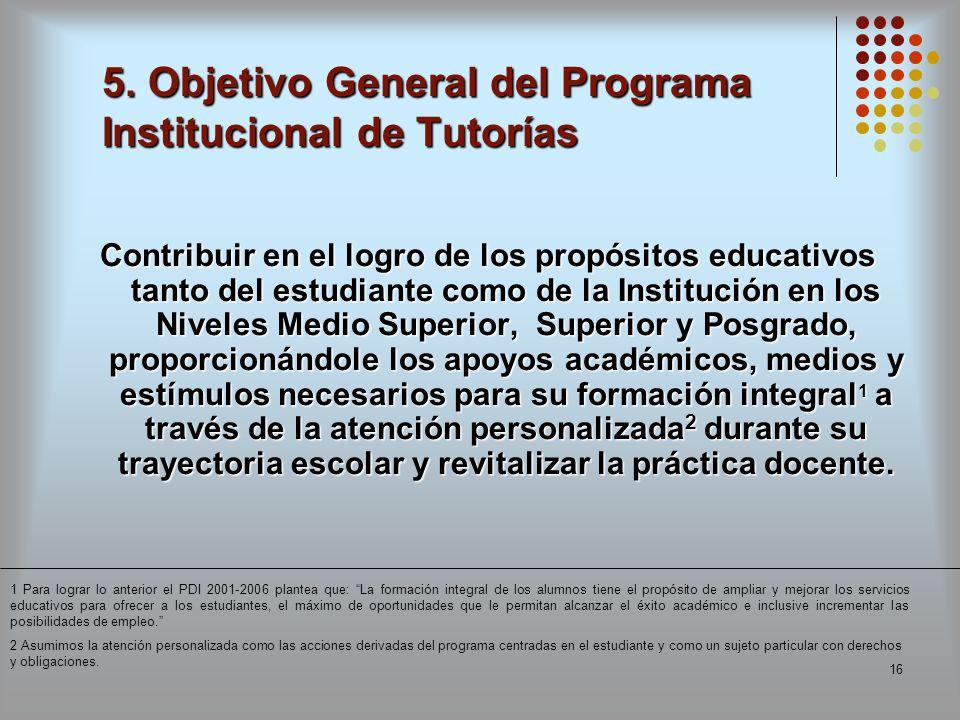 5. Objetivo General del Programa Institucional de Tutorías