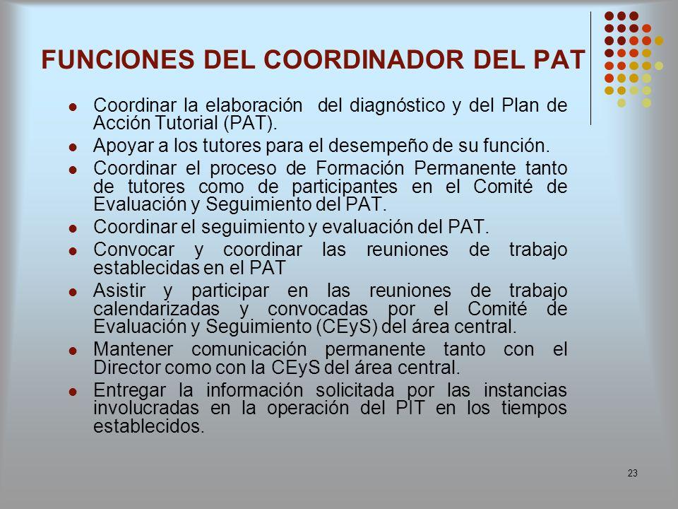 FUNCIONES DEL COORDINADOR DEL PAT
