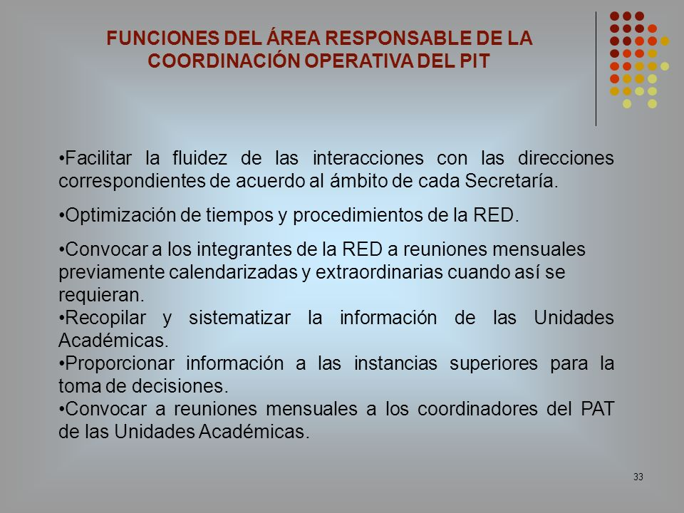 FUNCIONES DEL ÁREA RESPONSABLE DE LA COORDINACIÓN OPERATIVA DEL PIT