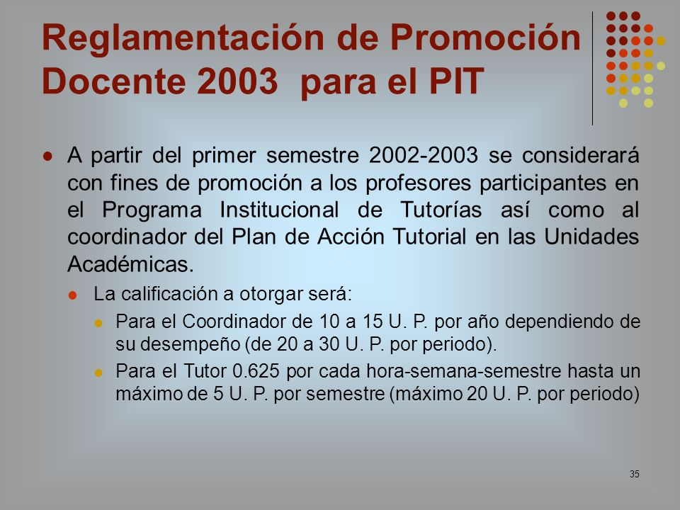 Reglamentación de Promoción Docente 2003 para el PIT
