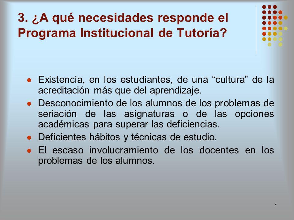 3. ¿A qué necesidades responde el Programa Institucional de Tutoría