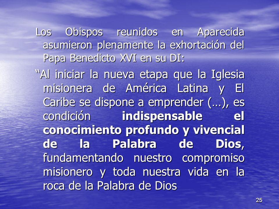 Los Obispos reunidos en Aparecida asumieron plenamente la exhortación del Papa Benedicto XVI en su DI: