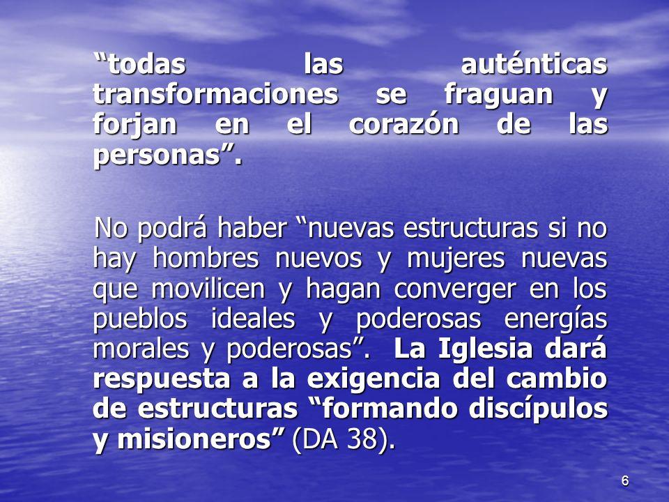 todas las auténticas transformaciones se fraguan y forjan en el corazón de las personas .