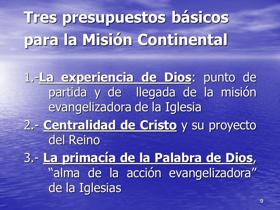 Tres presupuestos básicos para la Misión Continental