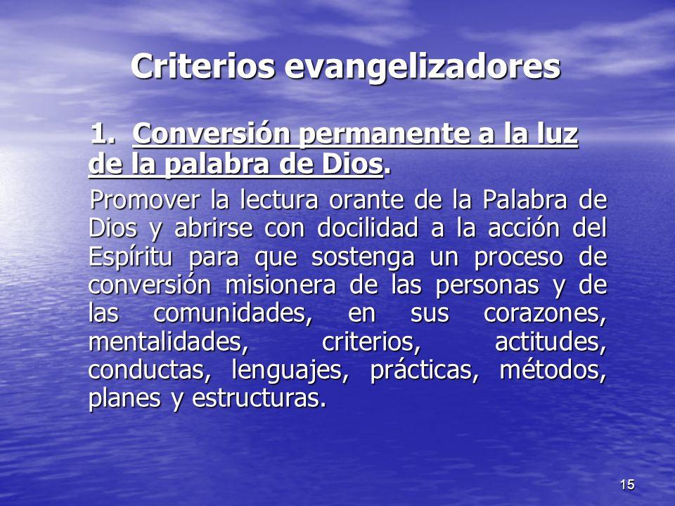 Criterios evangelizadores