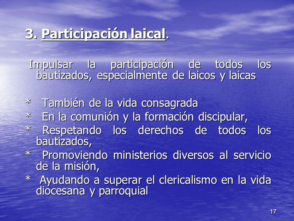 3. Participación laical. Impulsar la participación de todos los bautizados, especialmente de laicos y laicas.