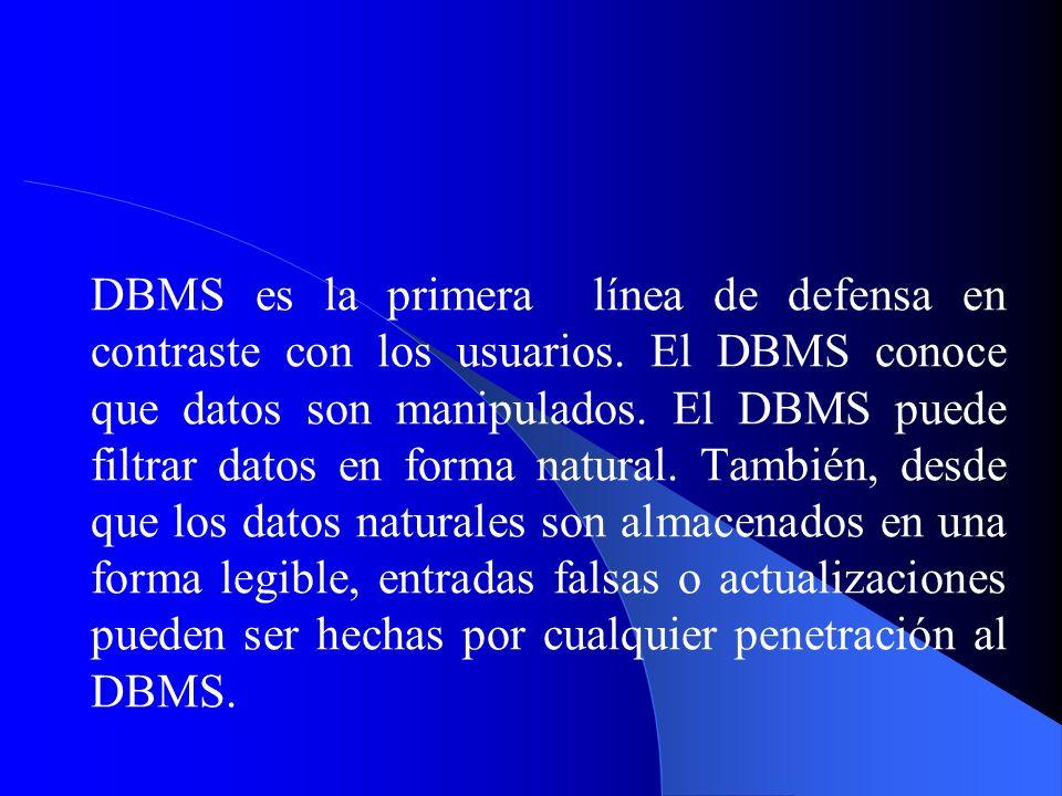 DBMS es la primera línea de defensa en contraste con los usuarios