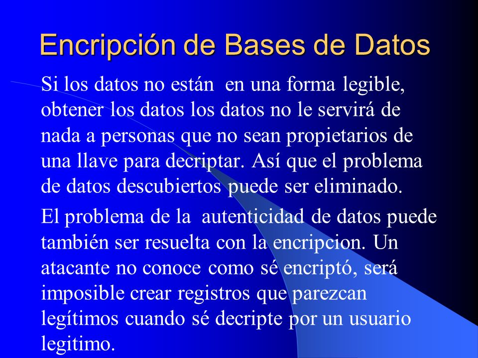 Encripción de Bases de Datos