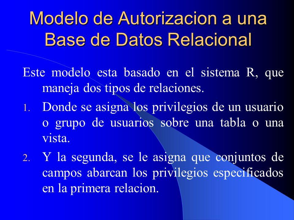 Modelo de Autorizacion a una Base de Datos Relacional