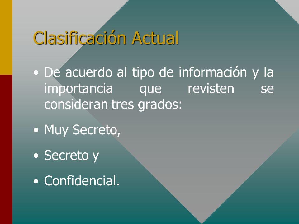 Clasificación ActualDe acuerdo al tipo de información y la importancia que revisten se consideran tres grados: