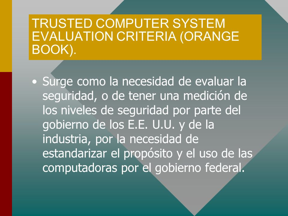 TRUSTED COMPUTER SYSTEM EVALUATION CRITERIA (ORANGE BOOK).