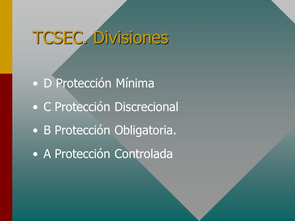 TCSEC. Divisiones D Protección Mínima C Protección Discrecional