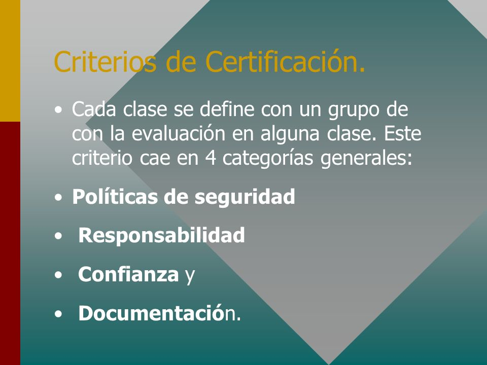 Criterios de Certificación.
