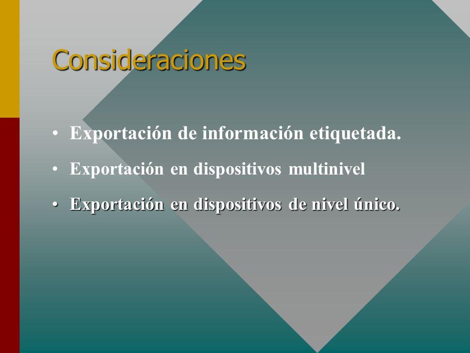 Consideraciones Exportación de información etiquetada.