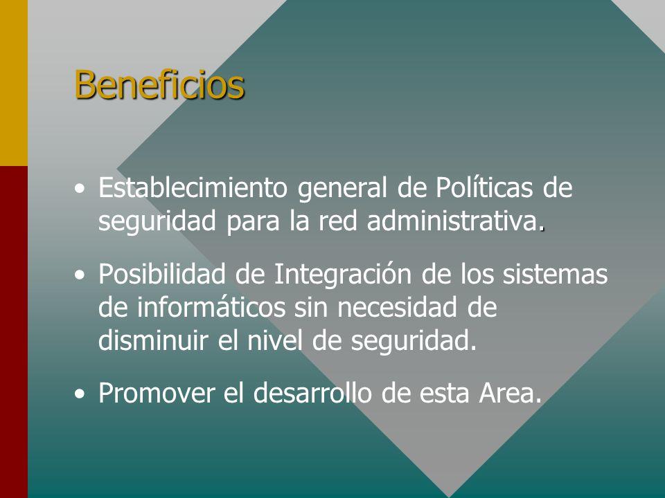 BeneficiosEstablecimiento general de Políticas de seguridad para la red administrativa.