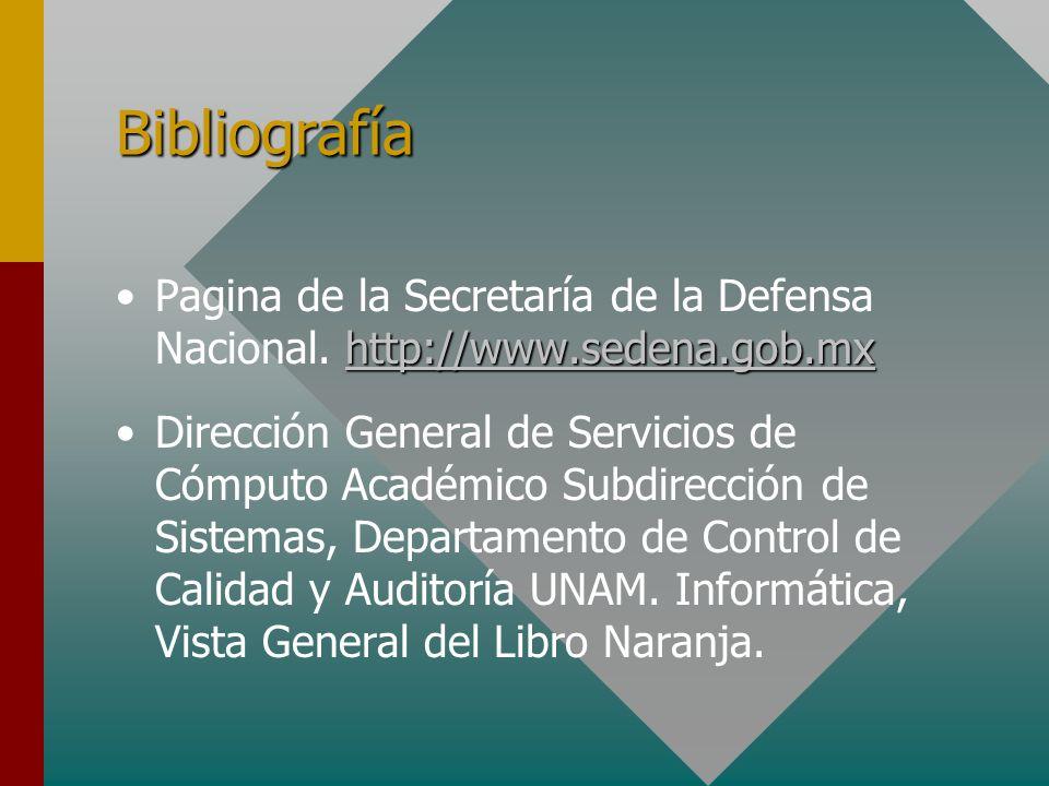 Bibliografía Pagina de la Secretaría de la Defensa Nacional. http://www.sedena.gob.mx.