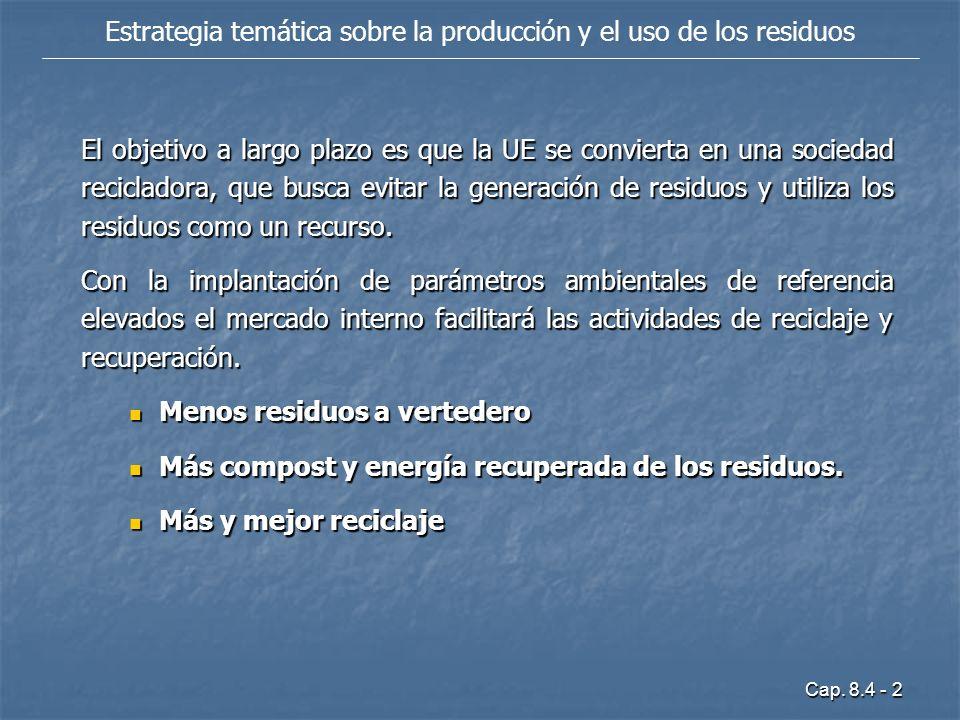 Estrategia temática sobre la producción y el uso de los residuos