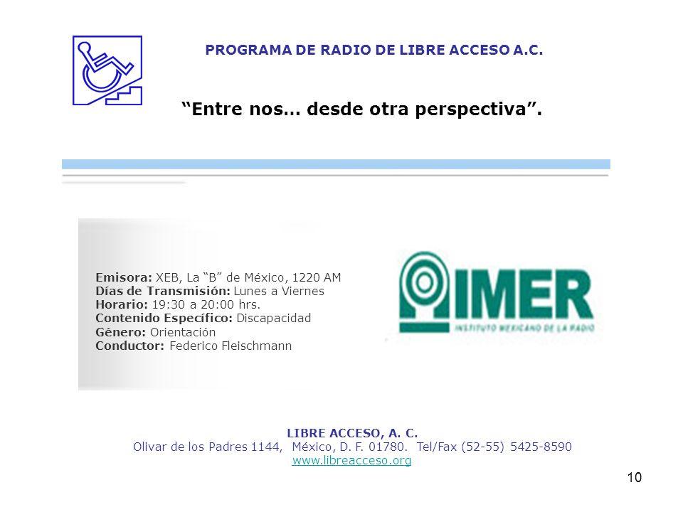 PROGRAMA DE RADIO DE LIBRE ACCESO A.C.