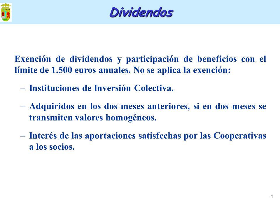 Dividendos Exención de dividendos y participación de beneficios con el límite de 1.500 euros anuales. No se aplica la exención: