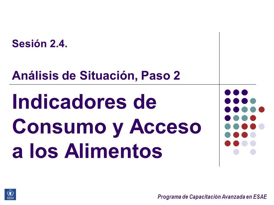 Sesión 2.4. Análisis de Situación, Paso 2 Indicadores de Consumo y Acceso a los Alimentos