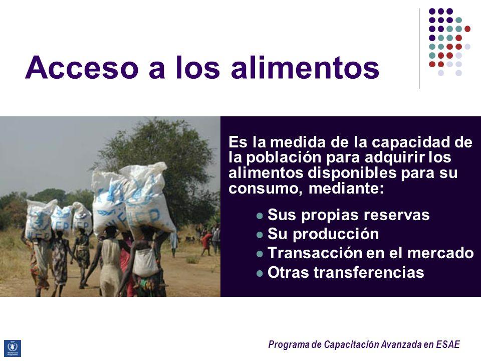Acceso a los alimentos Es la medida de la capacidad de la población para adquirir los alimentos disponibles para su consumo, mediante: