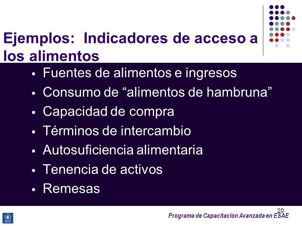 Ejemplos: Indicadores de acceso a los alimentos