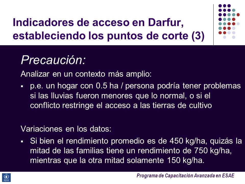 Indicadores de acceso en Darfur, estableciendo los puntos de corte (3)