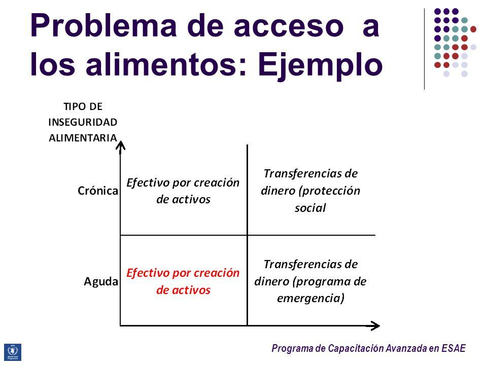 Problema de acceso a los alimentos: Ejemplo