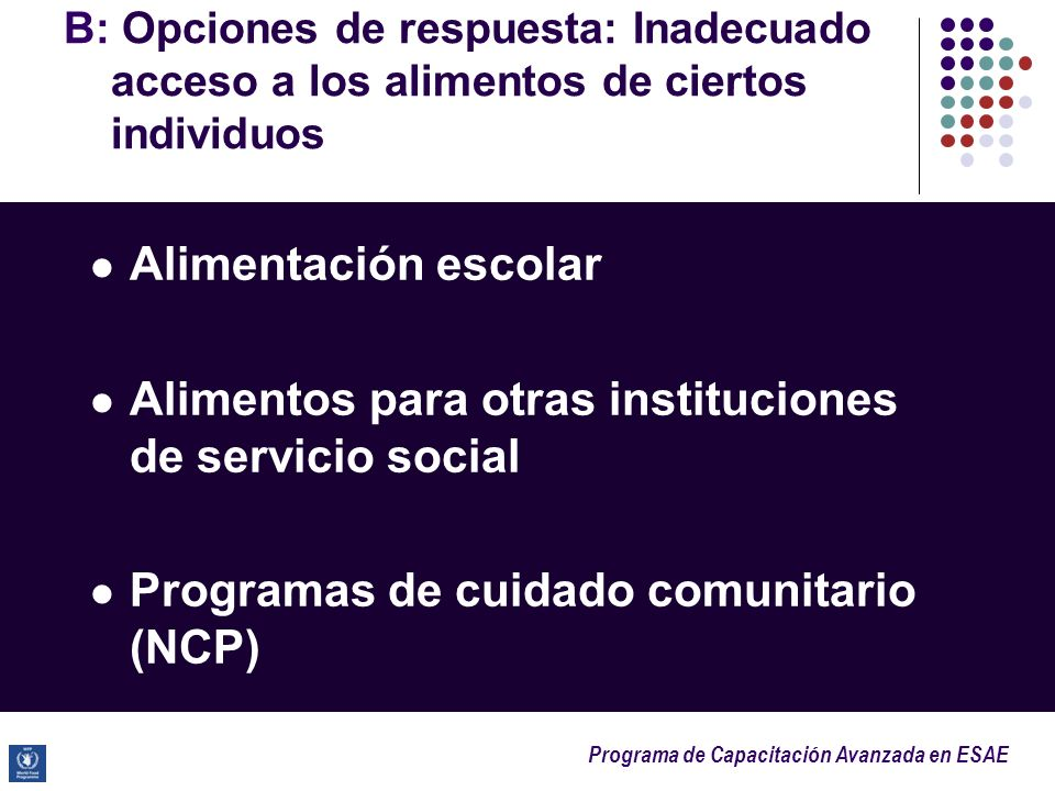 Alimentos para otras instituciones de servicio social