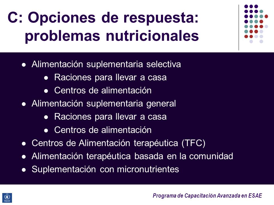 C: Opciones de respuesta: problemas nutricionales