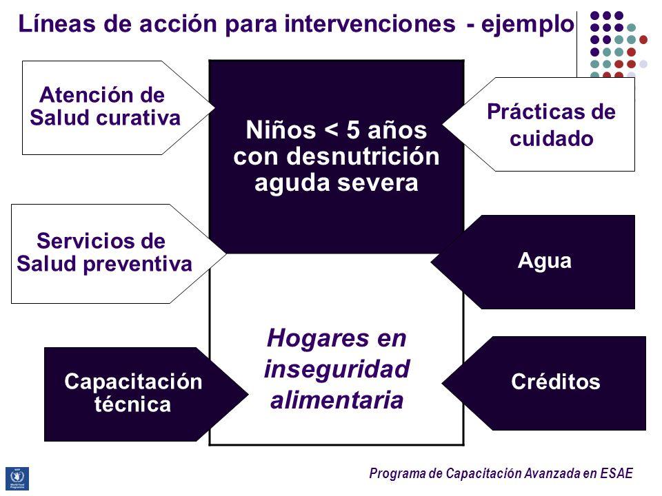Líneas de acción para intervenciones - ejemplo