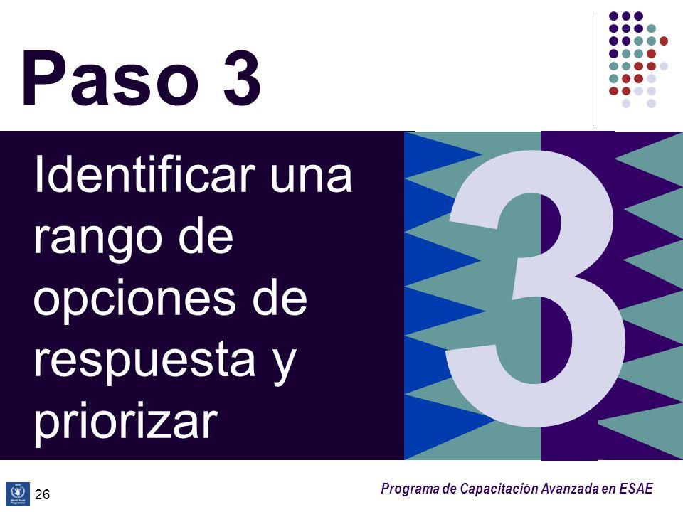 3 Paso 3 Identificar una rango de opciones de respuesta y priorizar 26