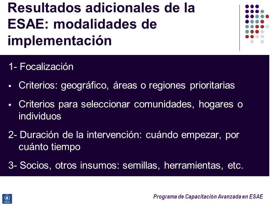Resultados adicionales de la ESAE: modalidades de implementación