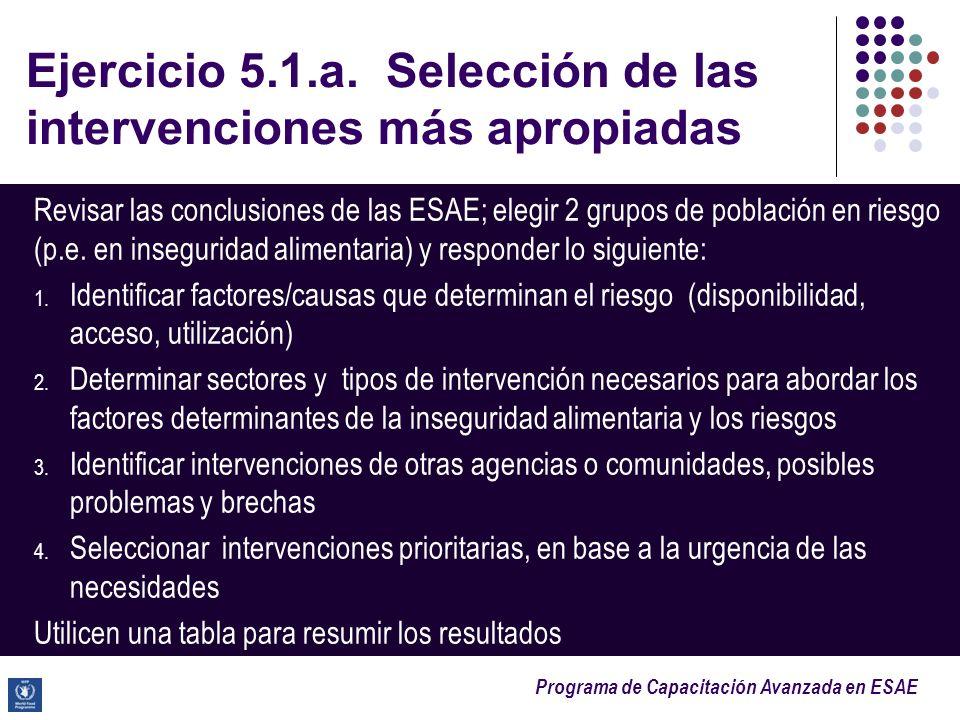 Ejercicio 5.1.a. Selección de las intervenciones más apropiadas