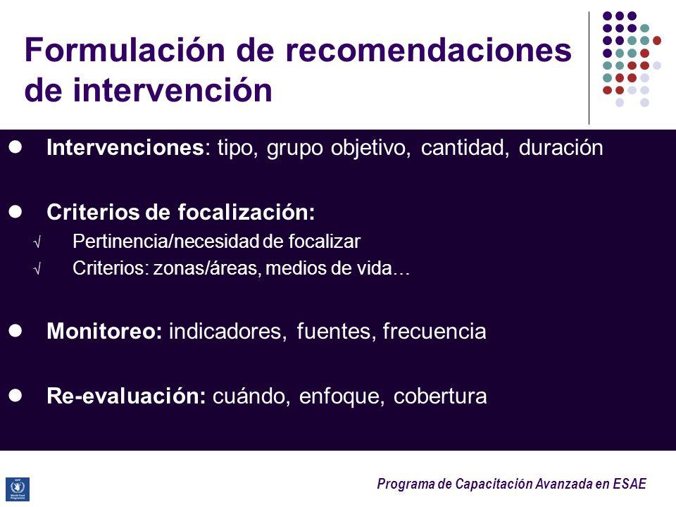 Formulación de recomendaciones de intervención