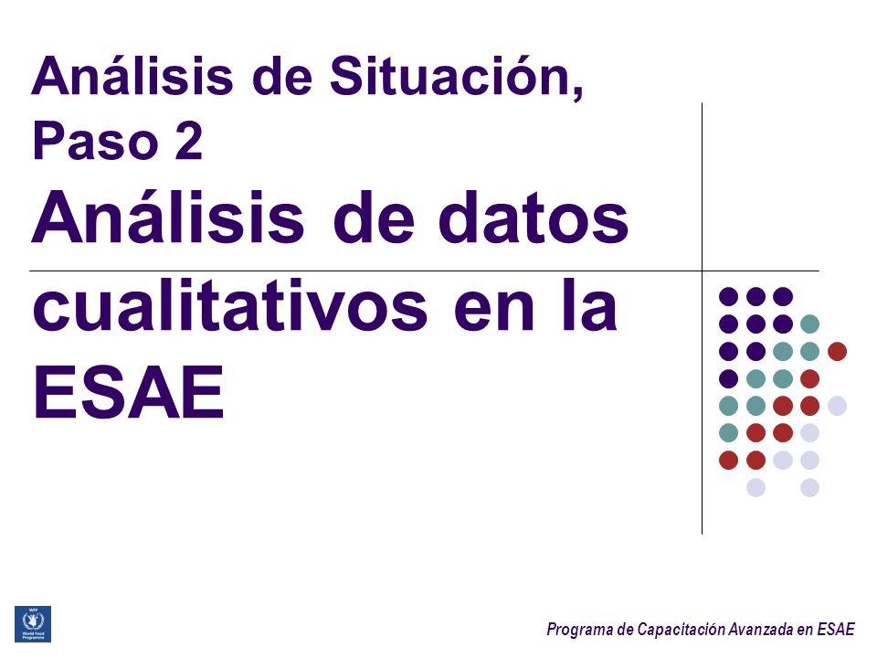 Sesión 3.1. Análisis de Situación, Paso 2 Análisis de datos cualitativos en la ESAE